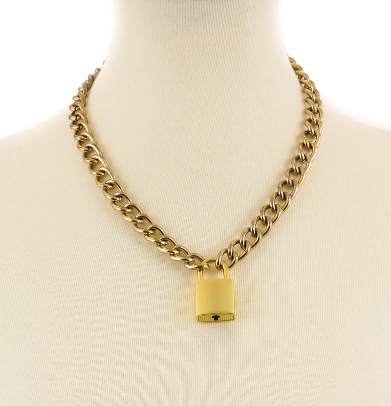 Gold Padlock Necklace Pendant Premium Gold Regular Chain