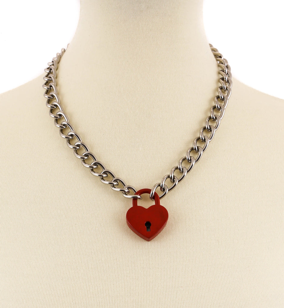 Chain Necklace With Locked Heart