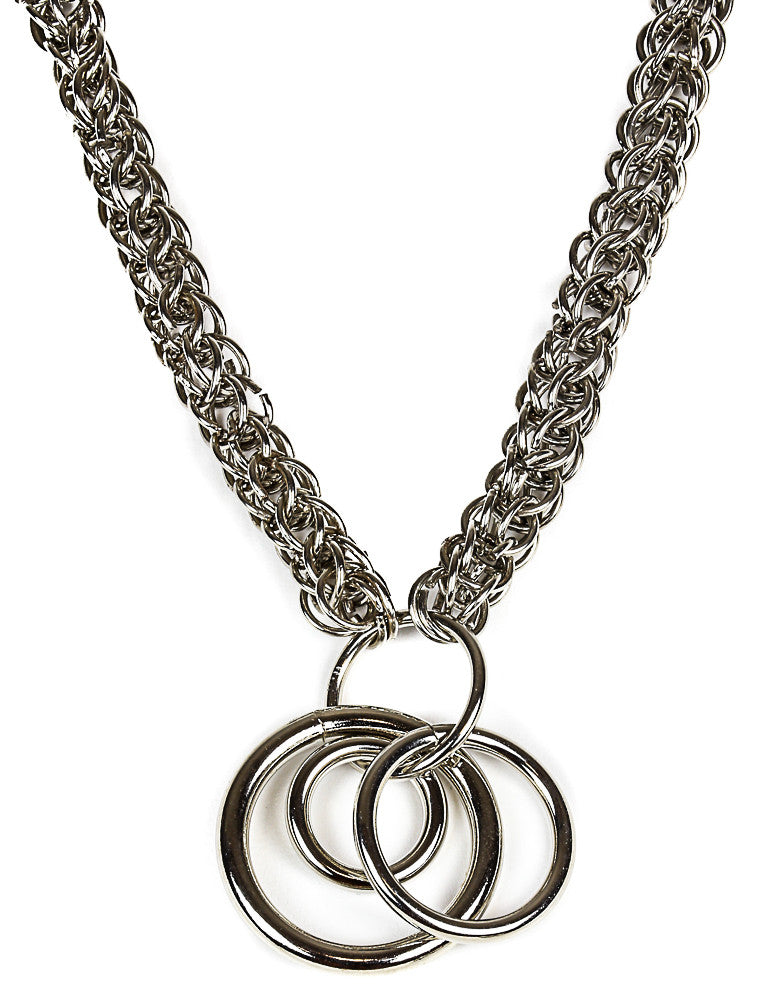 Braided Chain 3 Ring Necklace