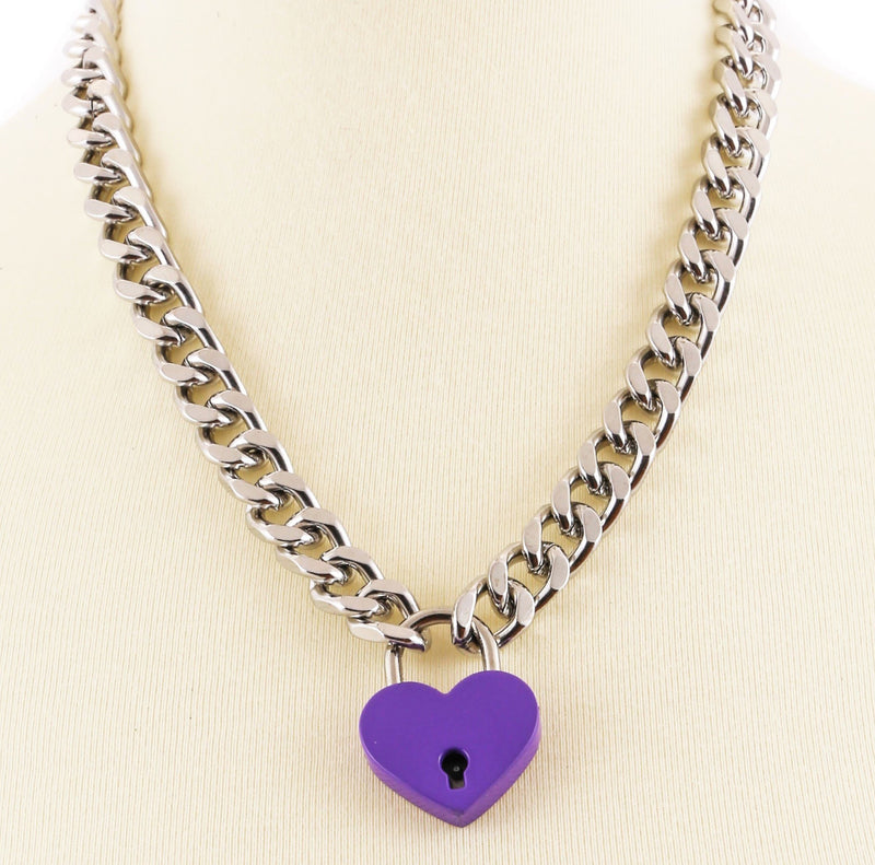 Heart Pad Lock Diamond Cut Chain Pendant Necklace Blue Pink Purple & Red