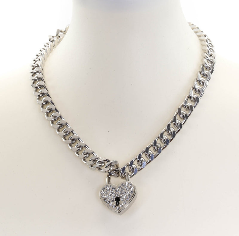 Rhinestone Silver Heart Padlock Necklace Pendant Diamond Cut Cuban Chain