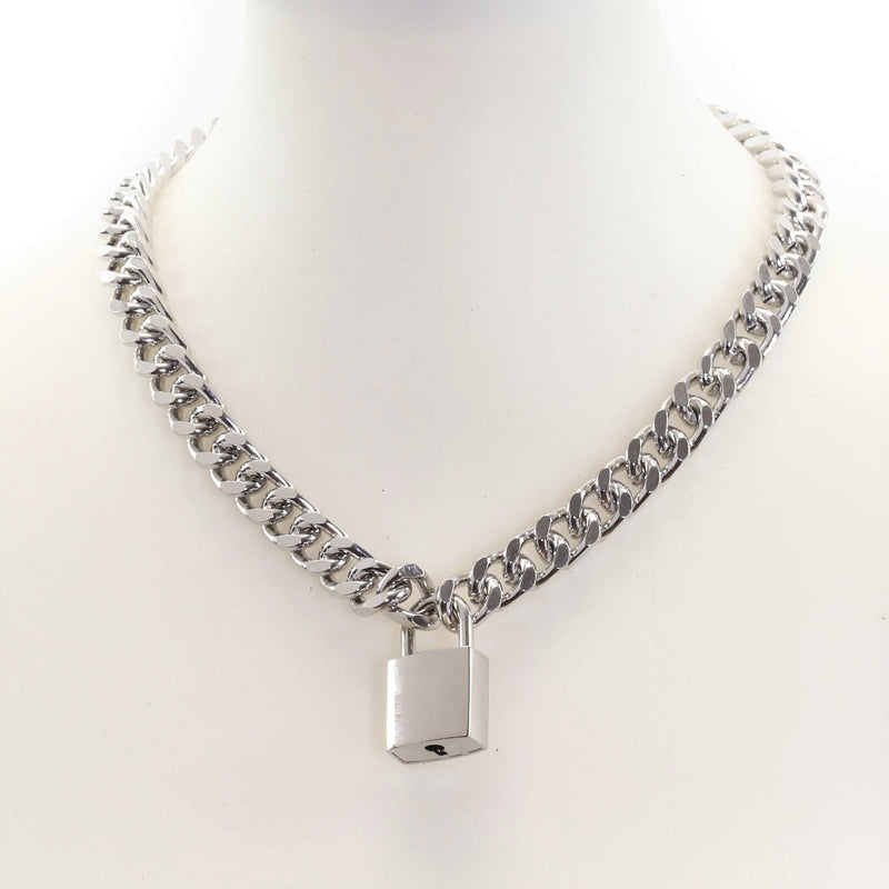 Silver Square Padlock Necklace Pendant Diamond Cut Cuban Chain