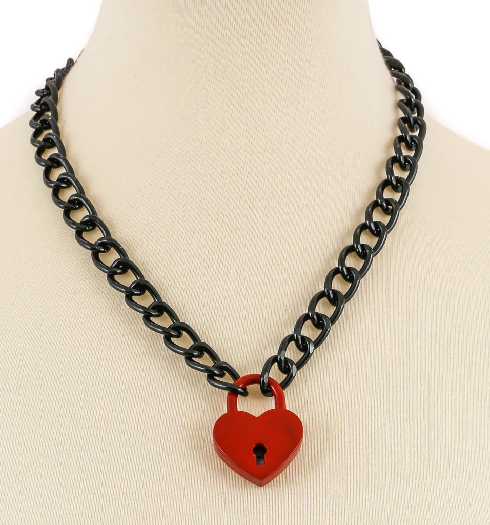 Chained Heart Lock Necklace Red