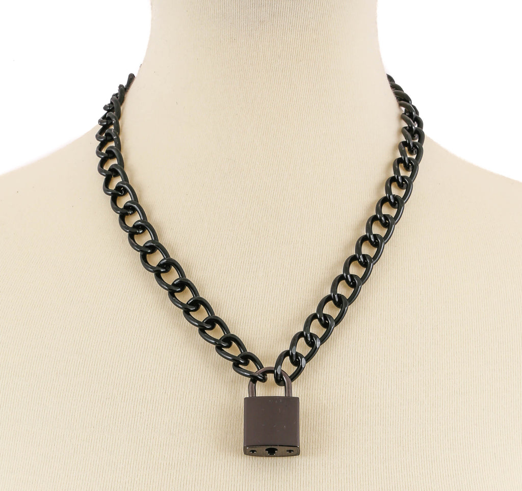 Chained Heart Lock Necklace Black