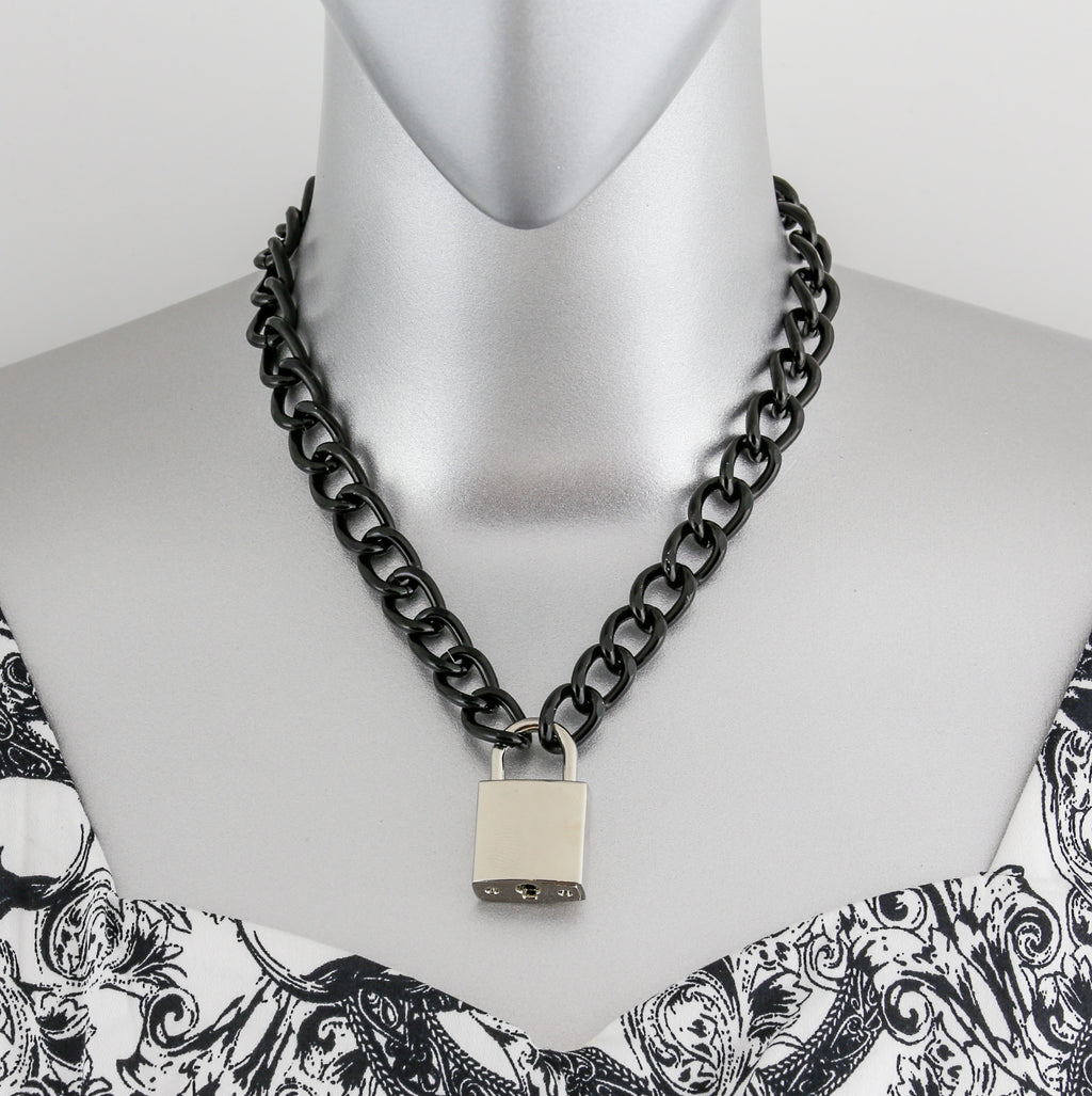 Chained  Lock Necklace Silver