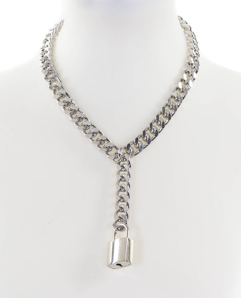 Hanging Silver Square Lock Pendant Cuban Diamond Cut Cain Choker Necklace