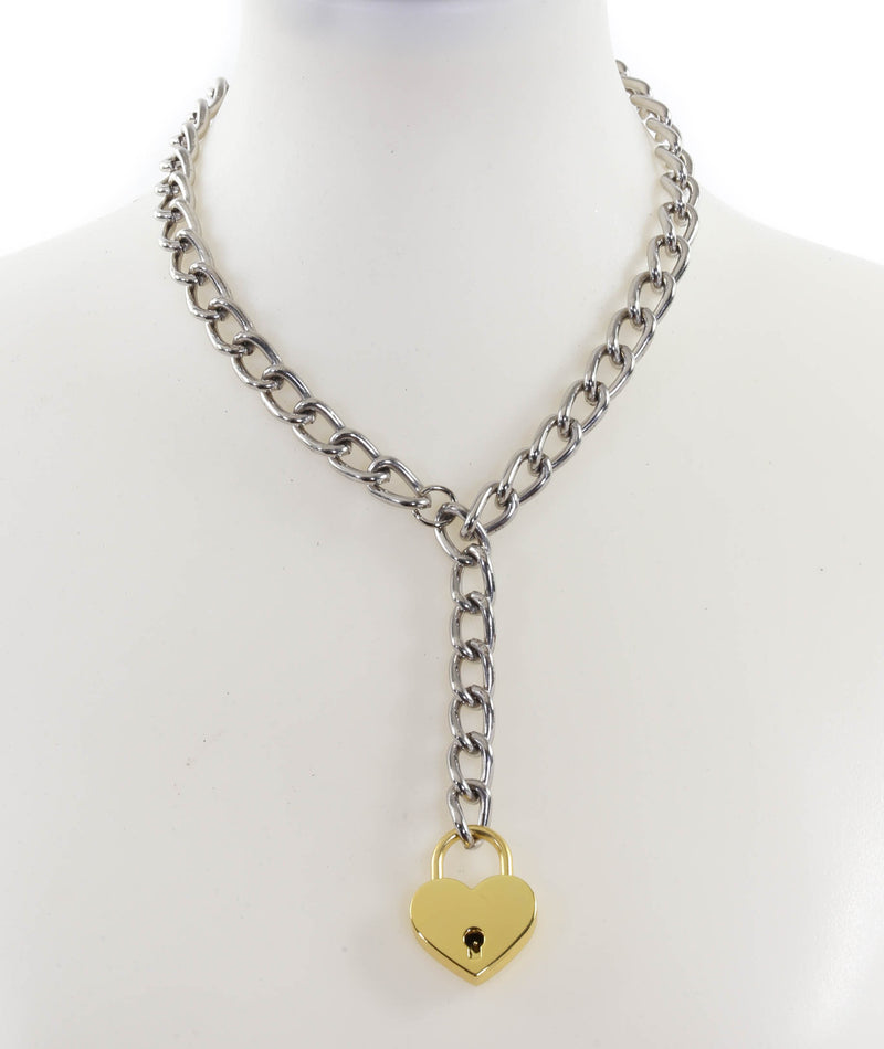 Hanging Gold Heart Lock Pendant Silver Steel Cain Choker Necklace
