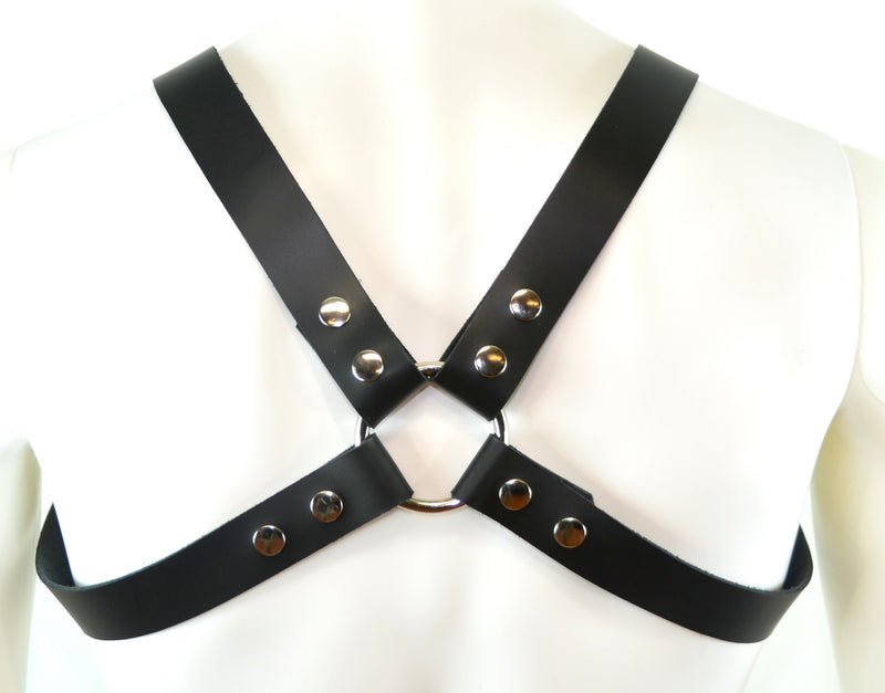 Leather Bulldog Body Harness D Rings Snap Adjustable