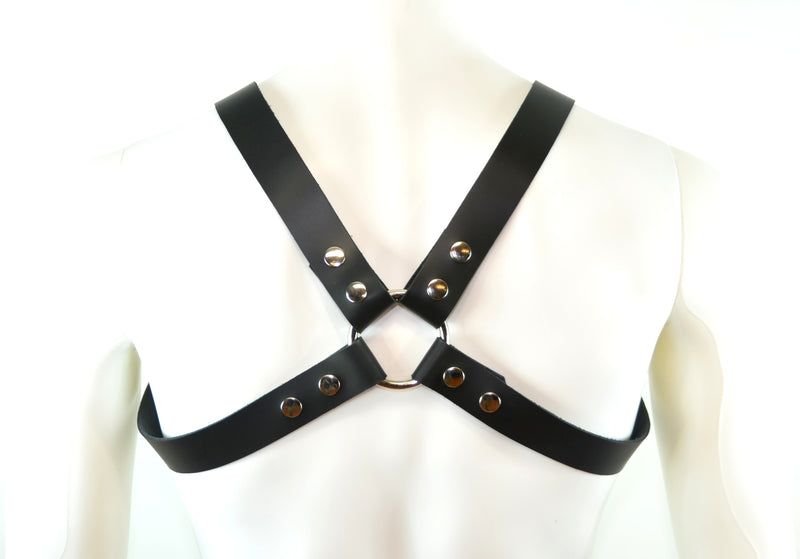 Leather Bulldog Body Harness Black Rings Snap Adjustable