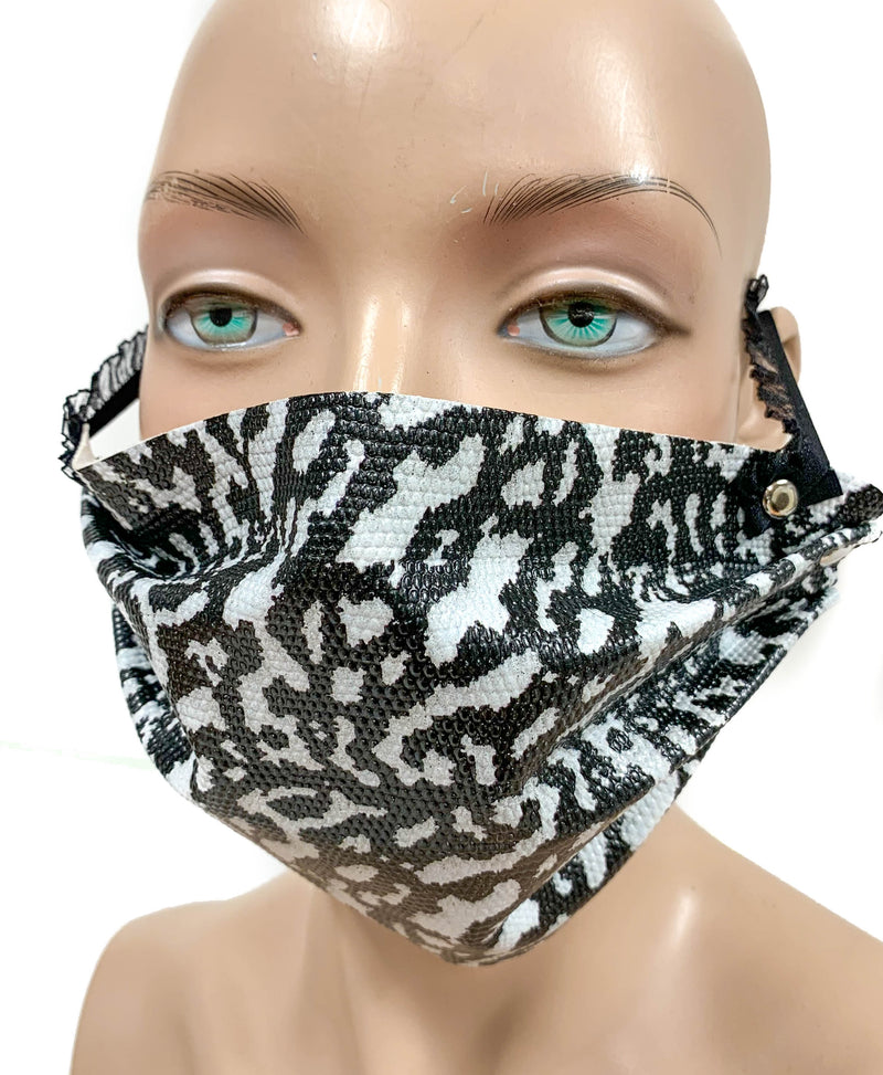 Gecko Face Mask Synthetic Leather Elastic Lace ups