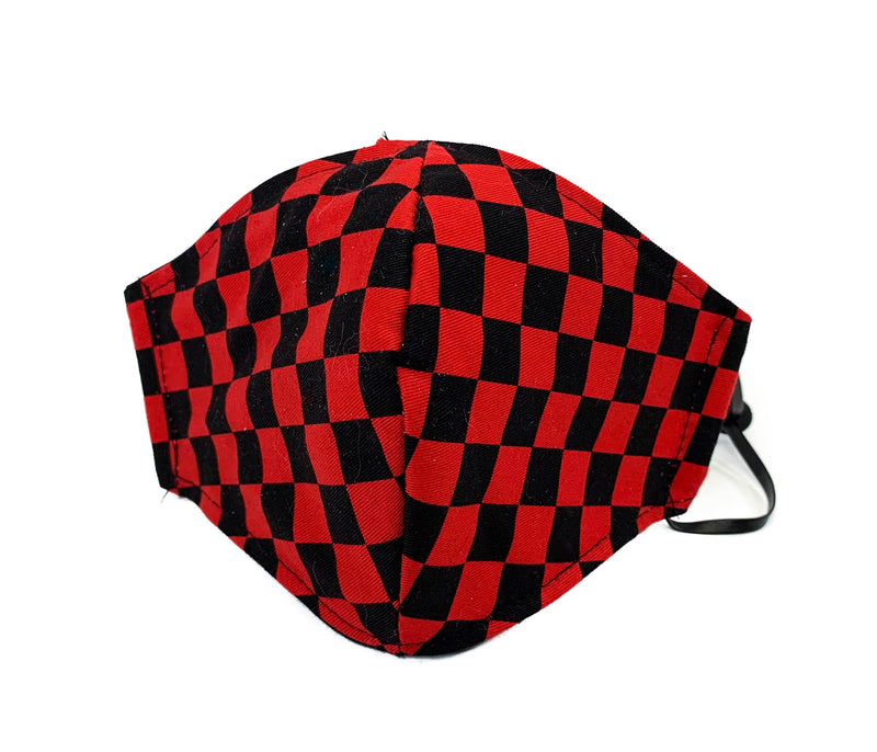 Red Checkered Fabric Face Mask fabric face covering mask