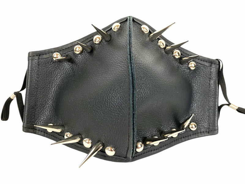 Genuine Leather Spike Face Mask