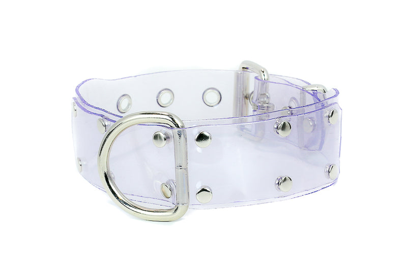 Wide D ring Patent Clear PVC Vinyl Choker Leash