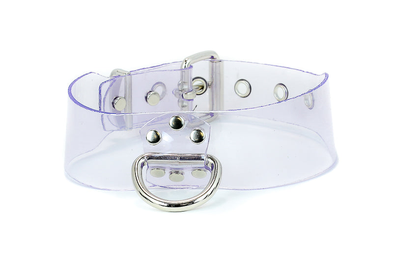 Wide Vertical D ring Genuine Clear Vinyl PVC Black Choker Leash