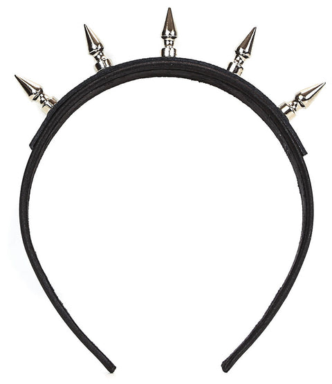 Black Headband with Silver Long Tree Spikes