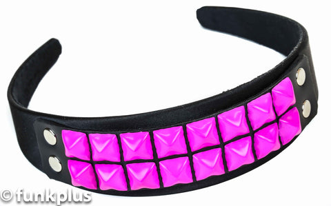 Black Headband with Pink Studs