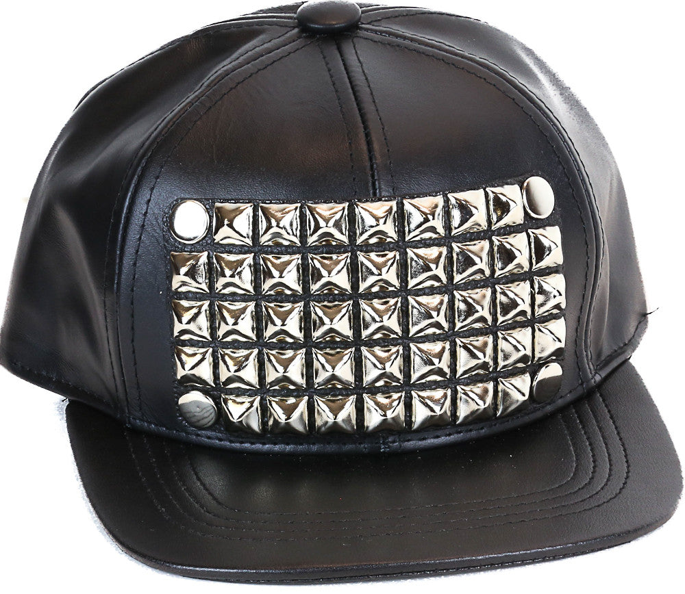 Studded Baseball Hat Genuine Leather USA Made Silver