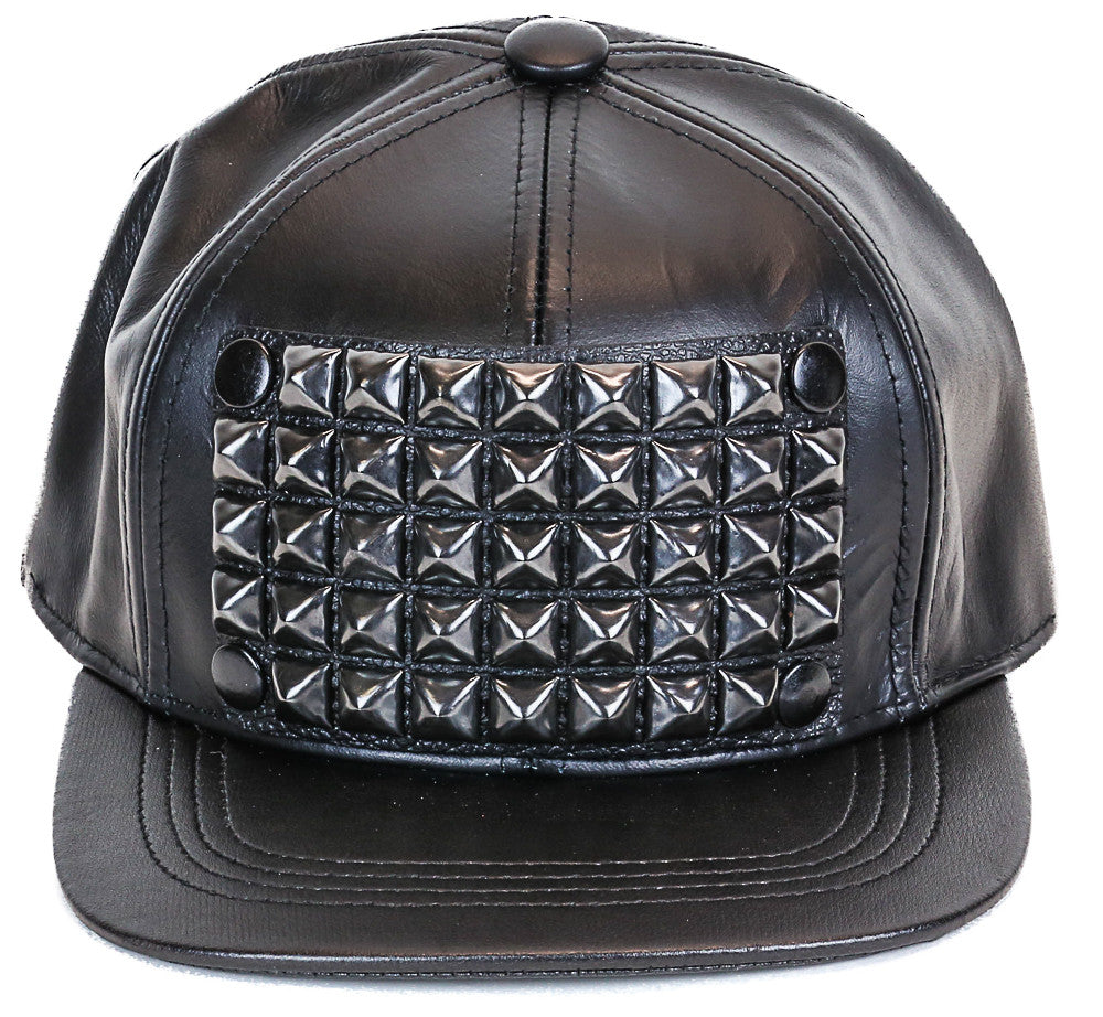 Studded Baseball Hat Genuine Leather USA Made