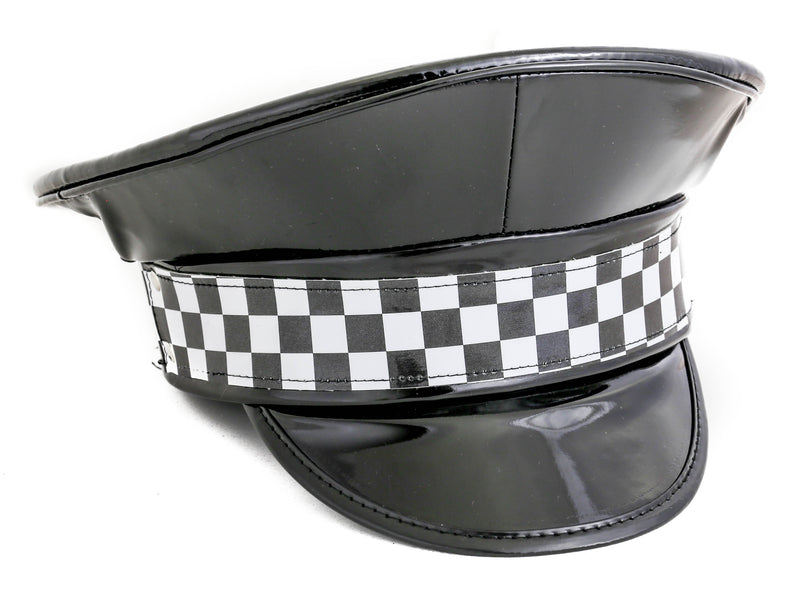Checkered Shiny Black Captain Hat