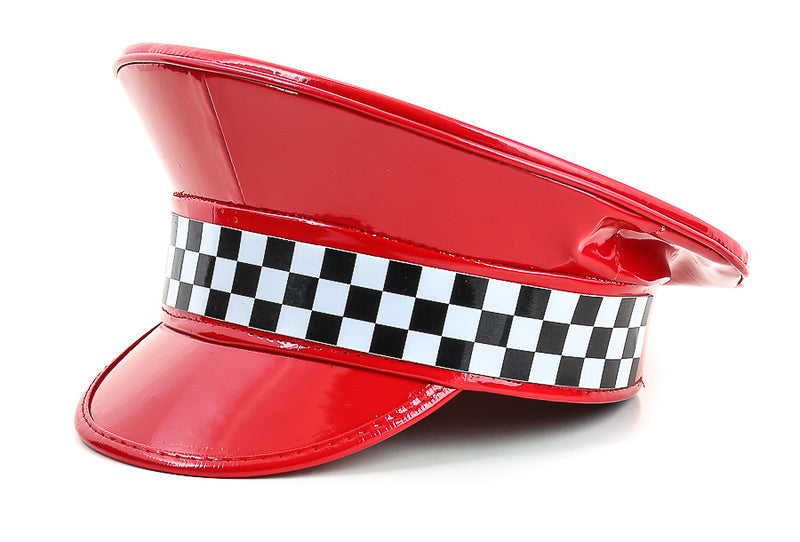 Checkered Shiny Red Captain Hat