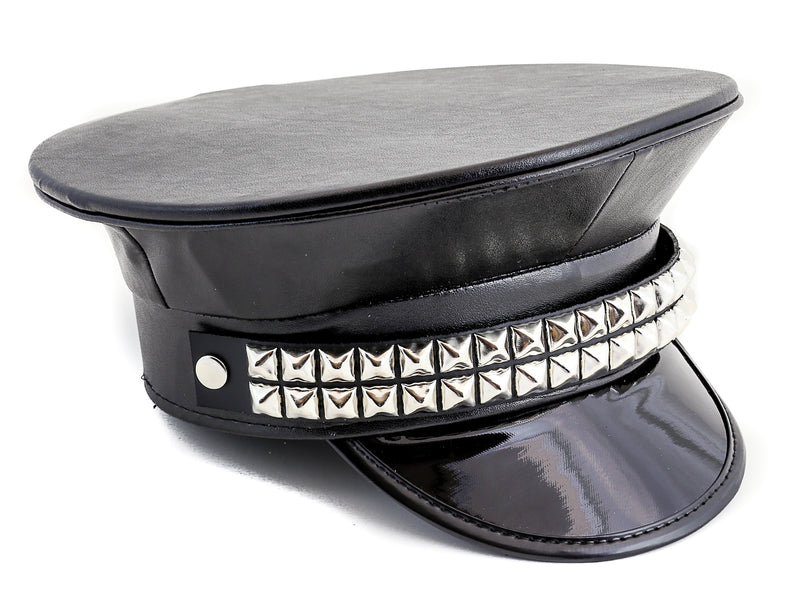Double Studded Faux Leather Chain Captain Hat