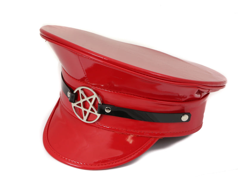 Silver Pentagram Red Patent Captain Hat