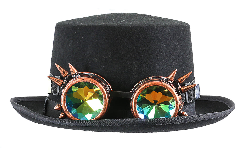 Premium Felt Top Hat With Kaleidoscopic Goggles