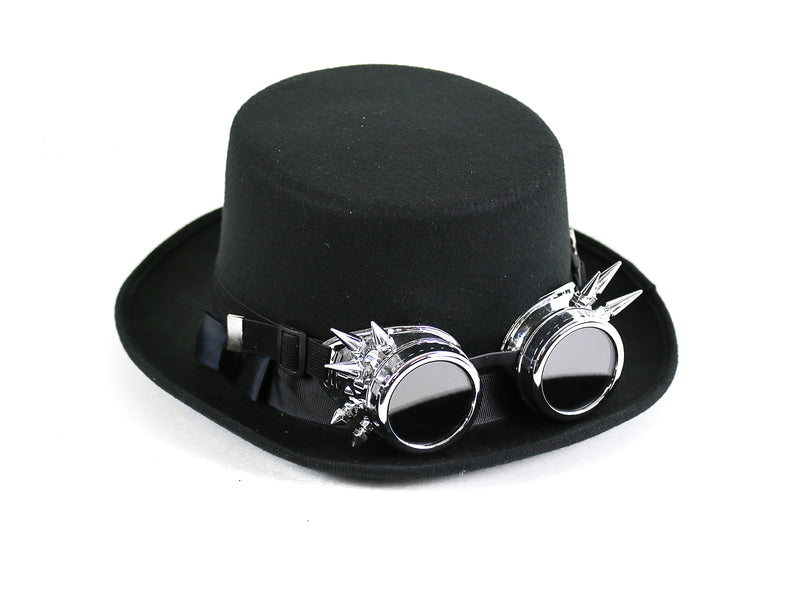 Premium Felt Top Hat With Spiky Chrome Goggles
