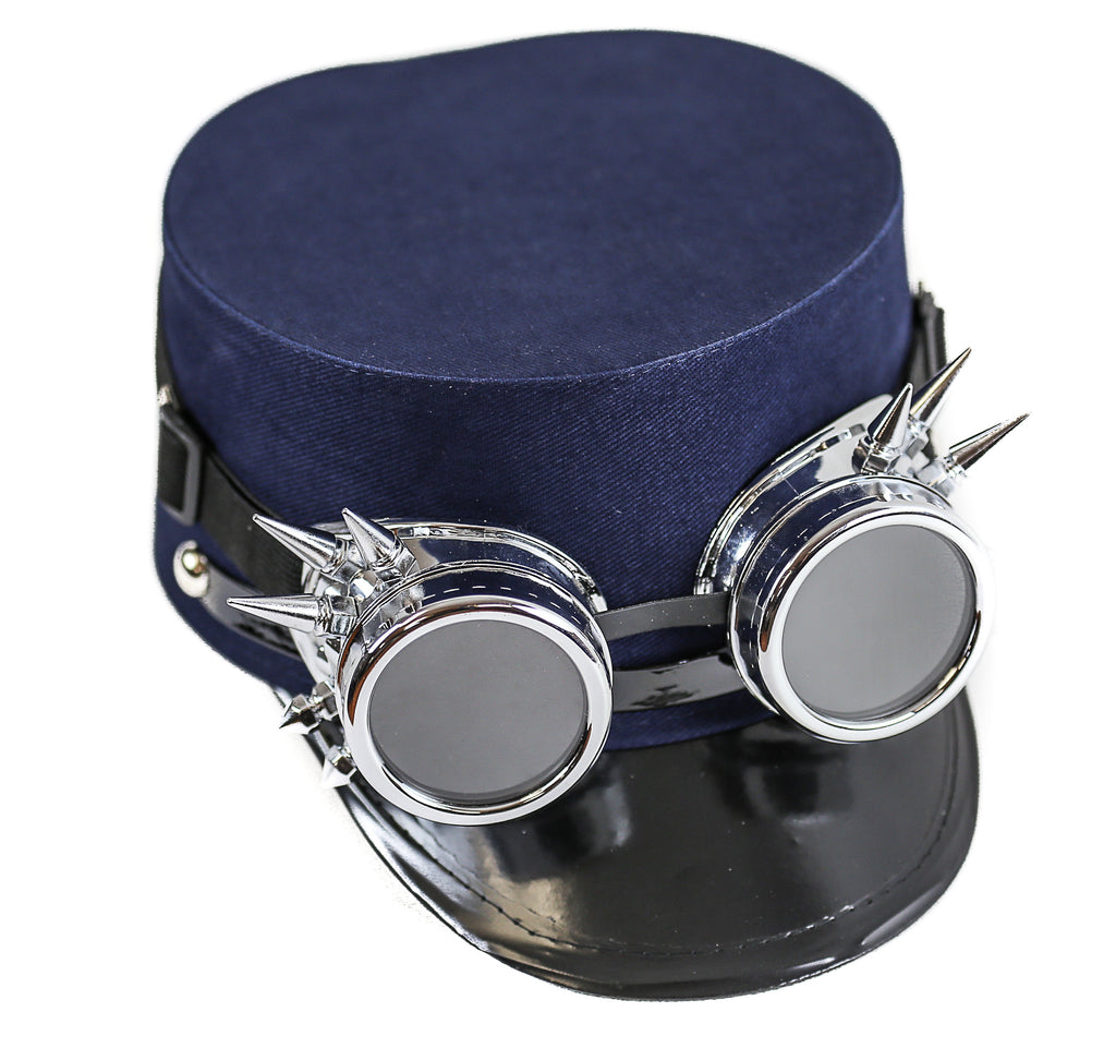 Blue Conductor Cadet Hat With Spiky Goggles