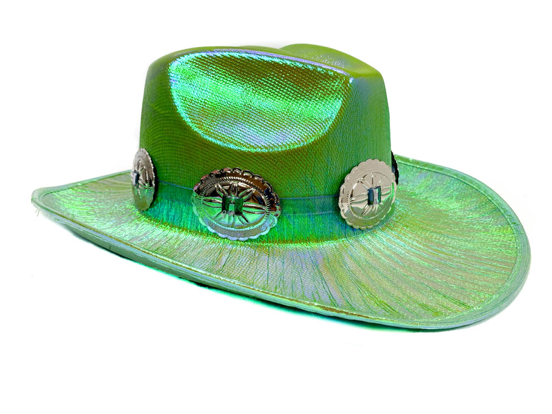 Oval Conch Green Holographic Western Cowboy Hat Festival Punk Rave Goth Cosplay