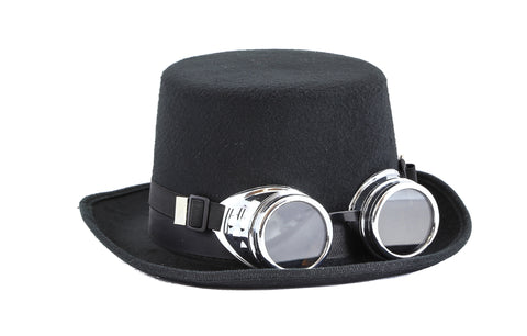 Steampunk Top Hat Wool Felt with Goggles Halloween Costume Party Burning Man With Goggles