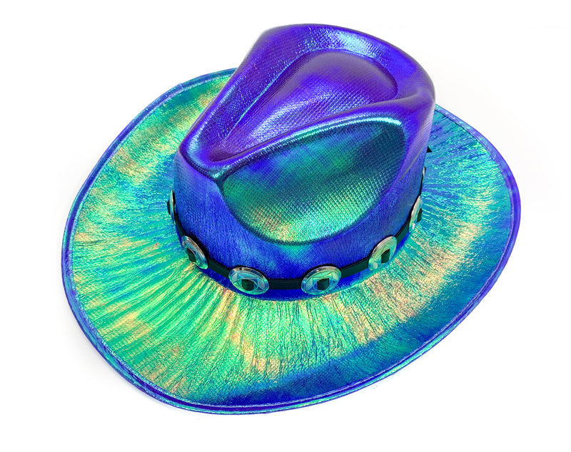 Copy of Round Conch Blue Holographic Western Cowboy Hat Festival Punk Rave Goth Cosplay