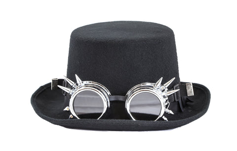 Steampunk Top Hat Wool Felt with Goggles Halloween Costume Party Burning Man With Spiked Goggles