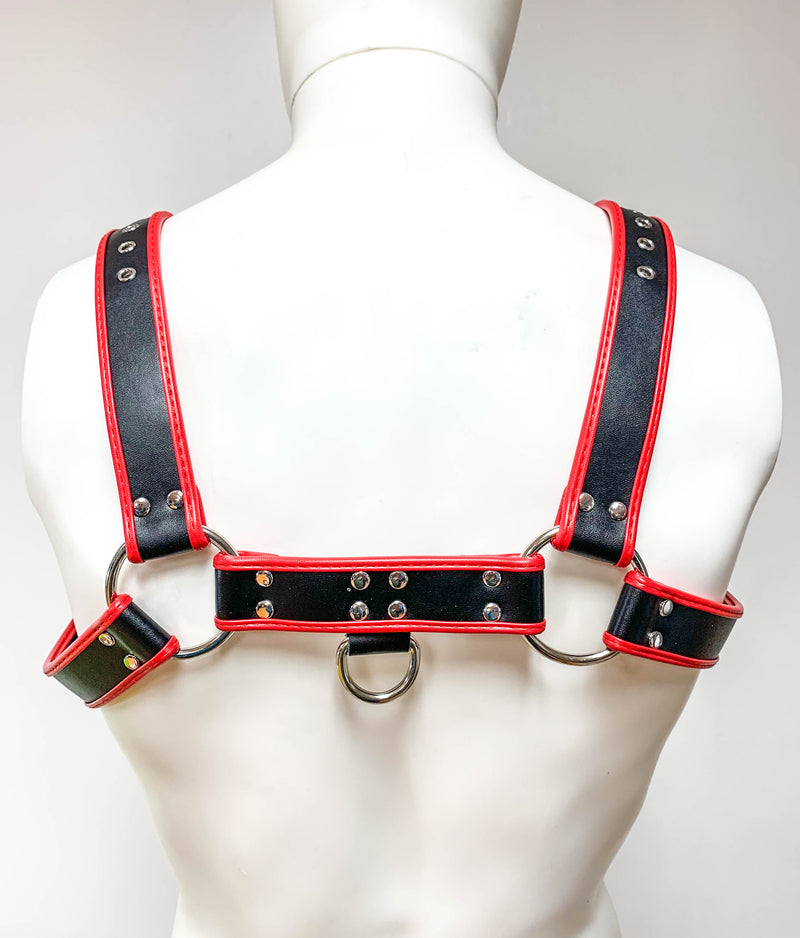 Red Pipping Bulldog 4 Buckle Soft Harness