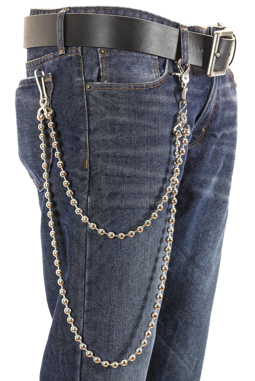 2 Strands Silver Long Wallet Chains Round Metal Links KeyChain