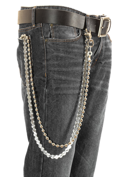 2 Strand Bikers Heavy Duty Metal Jean Wallet Bicycle and Ball Chain