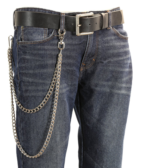 2 Stand Diamond Cut Bikers Trucker Heavy Duty Metal Jean Wallet Chain