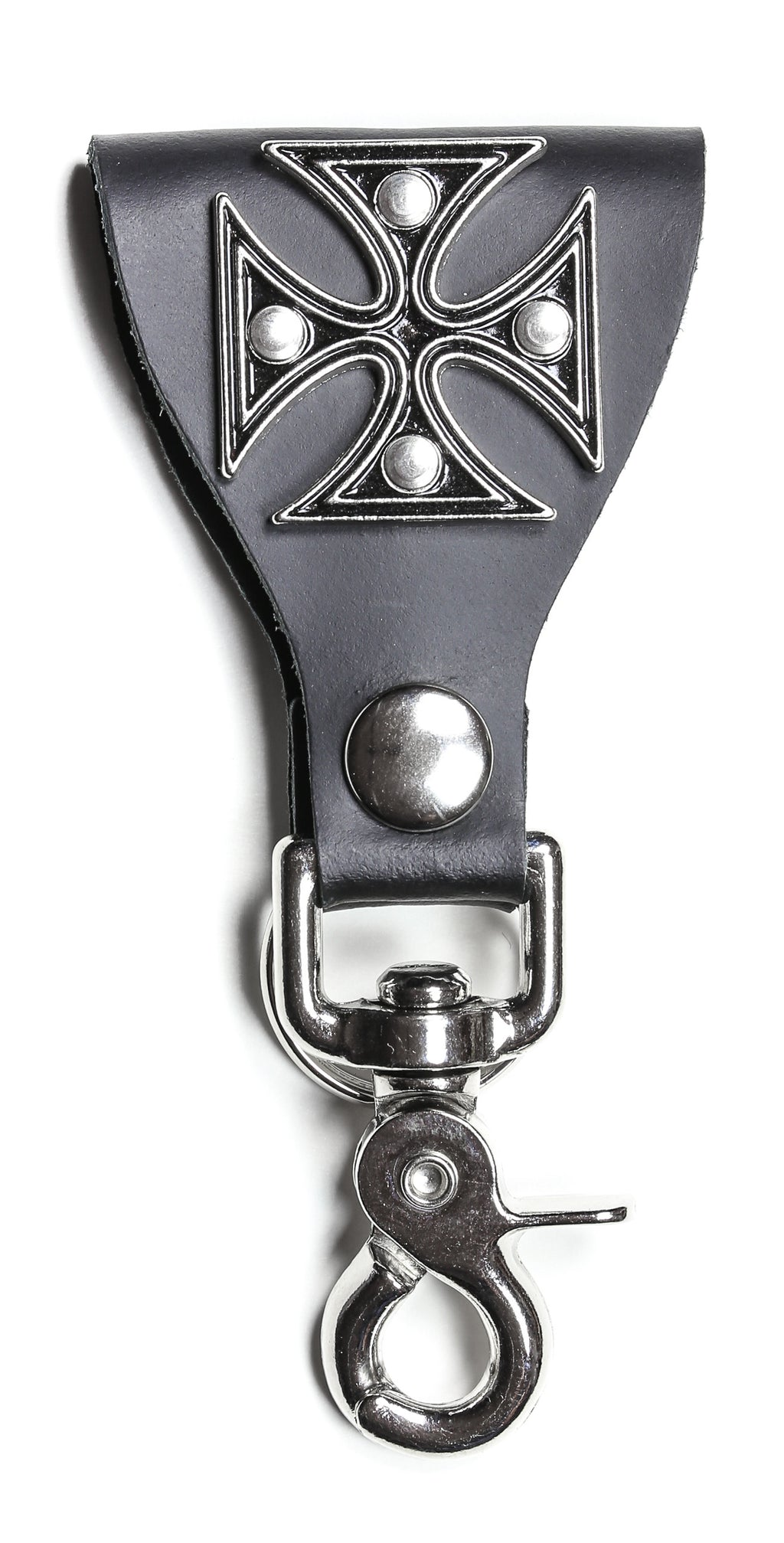 Large Iron Cross Leather Bikers Dual Key Holder