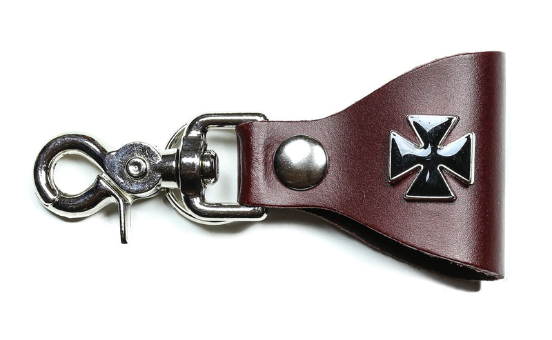Small Iron Cross Leather Bikers Dual Key Holder