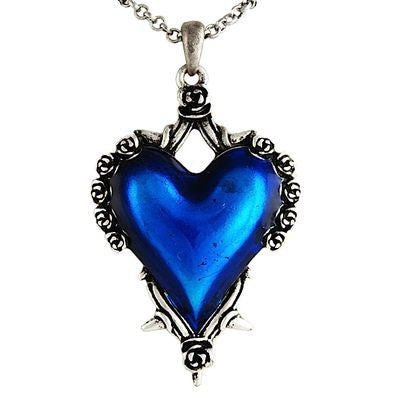 Blue Heart With Roses And Thorns Necklace