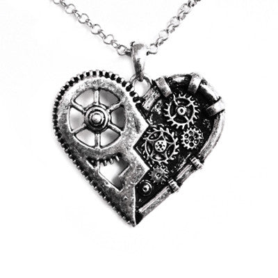 Steampunk Gear Mechanical Broken Heart Necklace