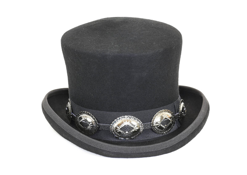 Wool Felt Top Hat Leather Large Concho Band Topper Mid Crown Opera Rocker Mad Hatter