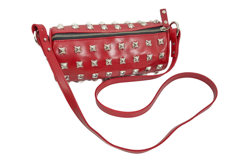 Red Studded Pyramid Cylinder Bag