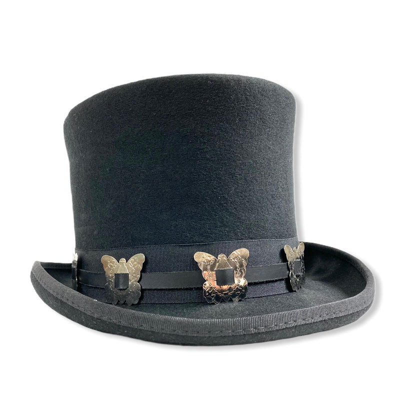 Wool Felt Top Hat Steampunk Topper Victorian Mad Hatter Butterfly Concho Band