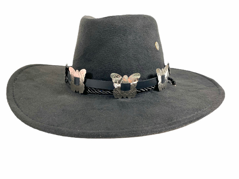 Wool Felt Cowboy Hat Steampunk Topper Victorian Mad Hatter Slash Butterfly Concho Band
