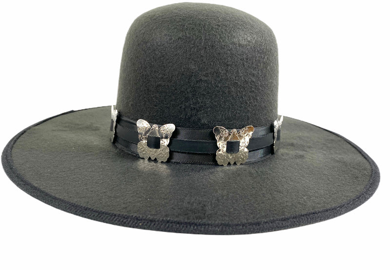 Wool Felt Spanish Hat Steampunk Topper Victorian Mad Hatter Slash Butterfly Concho Band