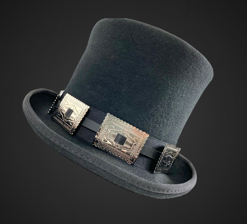 Wool Felt Top Hat Steampunk Topper Victorian Mad Hatter Square Concho Band