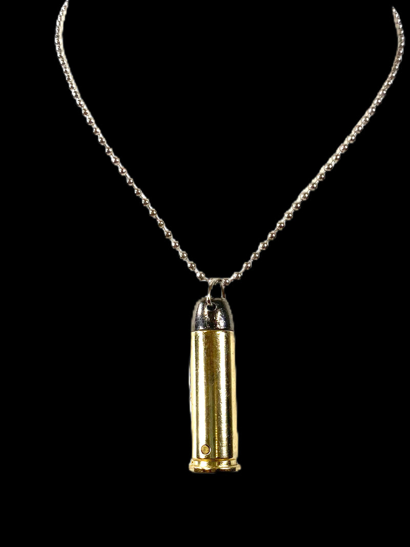 Bullet Pendant With Knife Brass