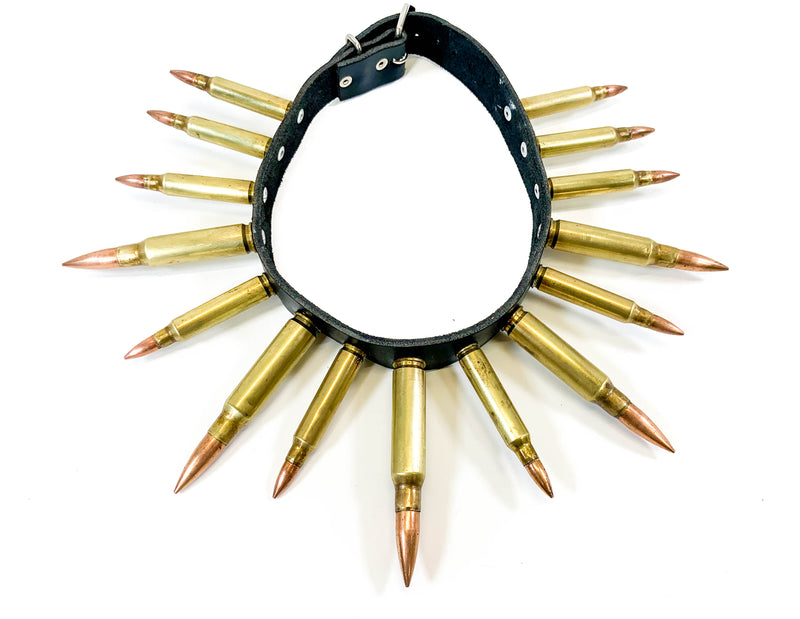 Real Brass BulletLeather  Choker