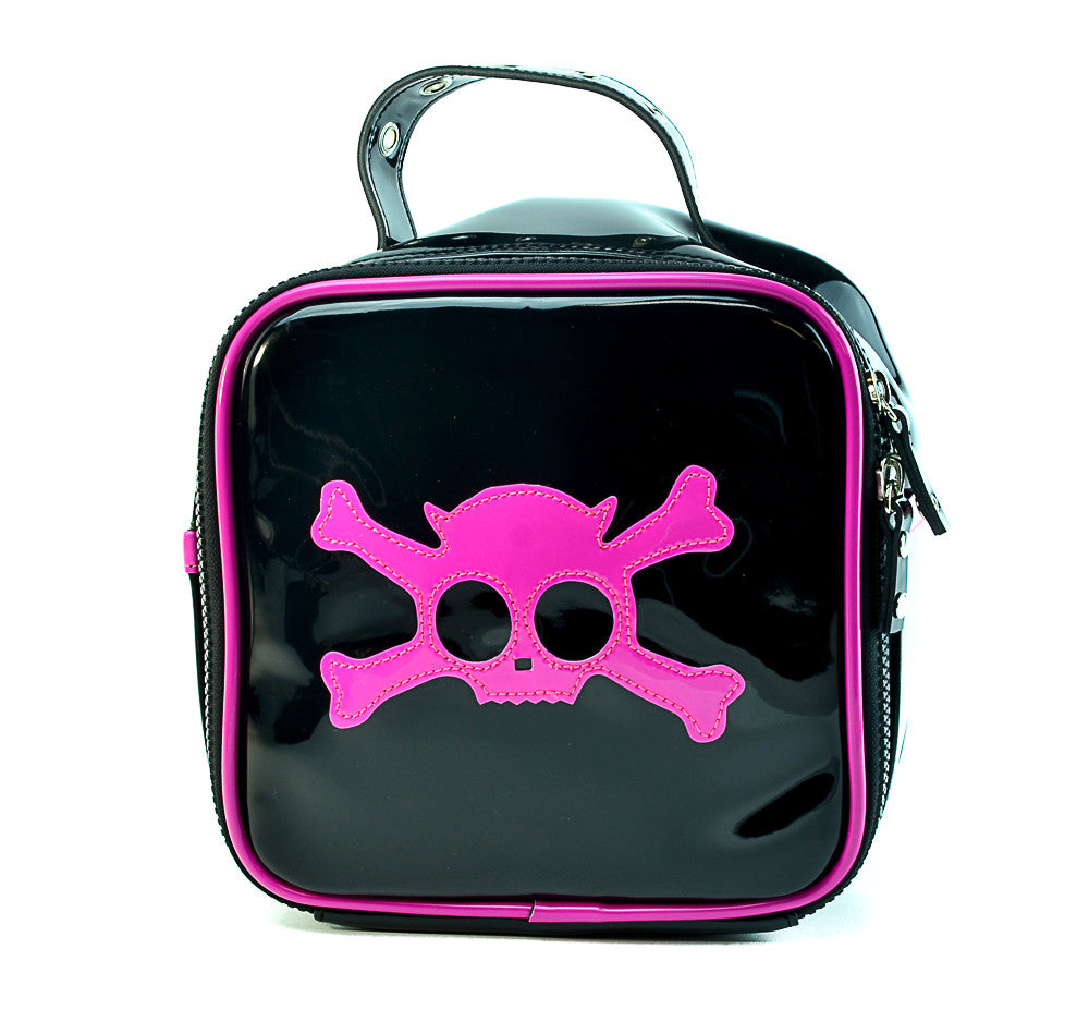 Glossed Gothic Bag With Skull Graphic